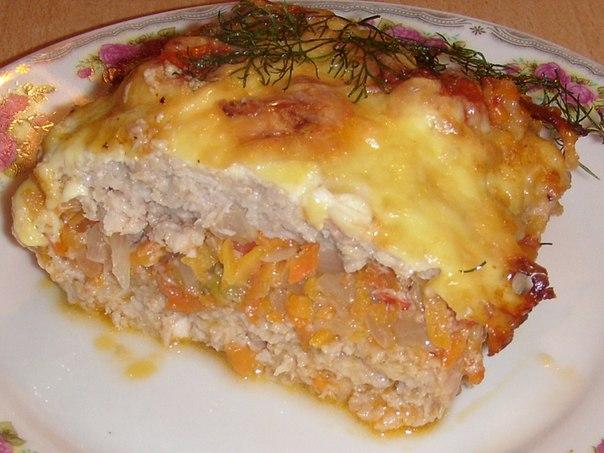 Запеканка картофельная с фаршем морковью