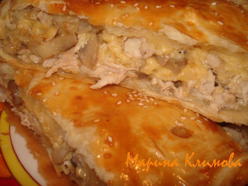Рецепты пирога с грибами и курицей