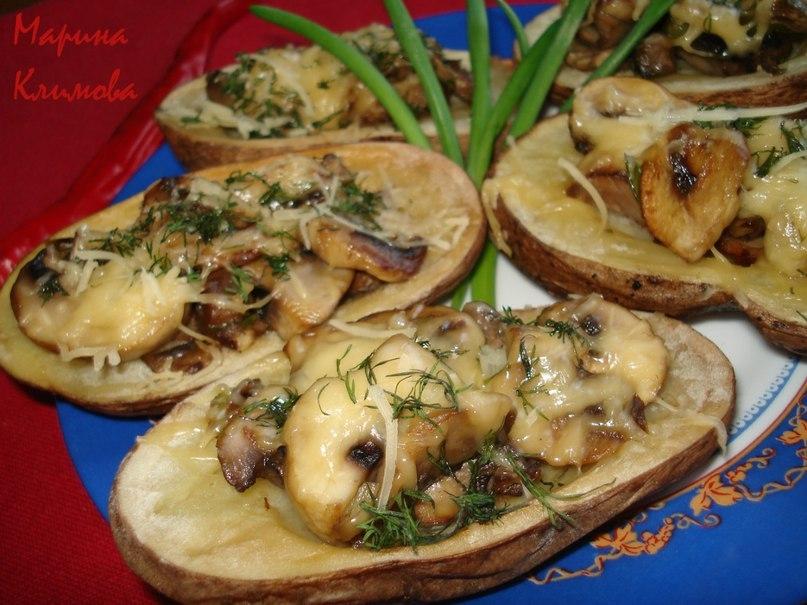 Рецепт запеченной картошки с грибами и сыром в духовке рецепт